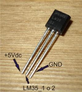LM35 -  connessioni pin